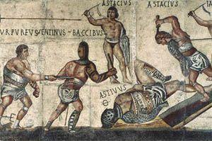 Gladiators fighting (mosaic).