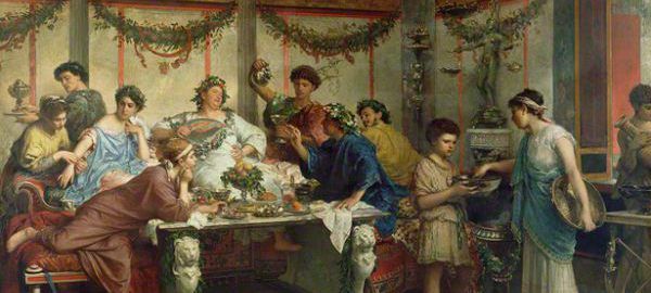 Obraz Roberto Bompianiego ukazujący rzymską ucztą