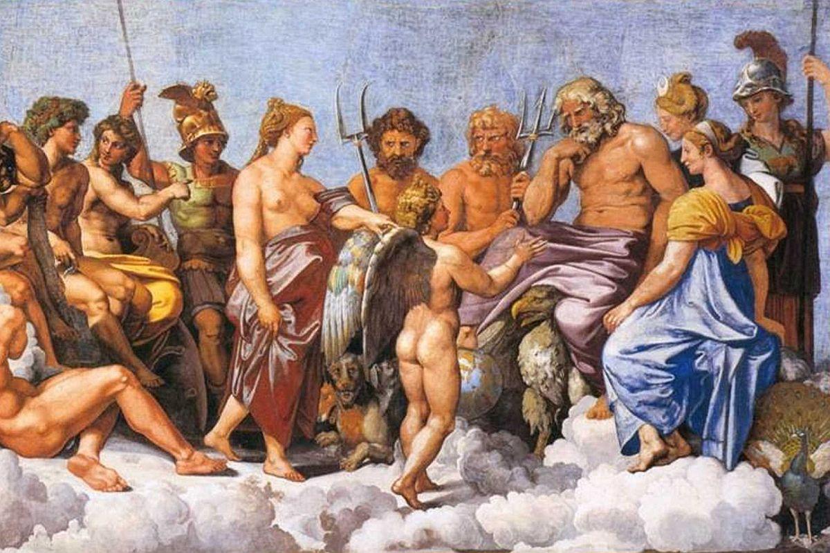 Rzymskie bóstwa na malowidle