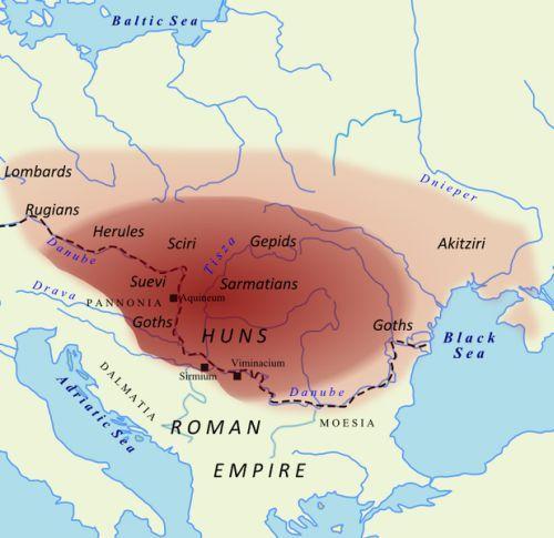 Przypuszczalny zasięg terytorium kontrolowanego przez Attylę około roku 450 n.e.