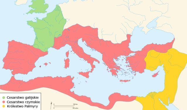 Mapa ukazująca sytuację polityczną Imperium Rzymskiego w roku 271 n.e.