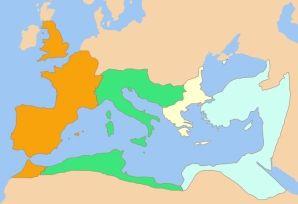 Podział Imperium Rzymskiego po śmierci Konstantyna I Wielkiego w 337 roku n.e.