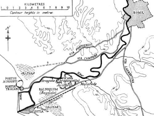 Mapa ukazująca Rzym i Ostię