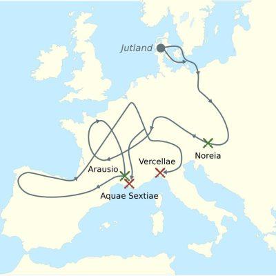 Inwazja Cymbrów i Teutonów w 120 roku p.n.e.