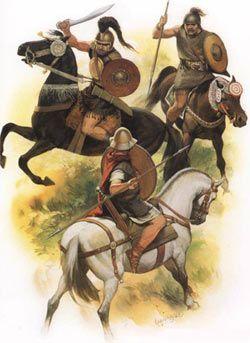 Jeździec rzymski (na dole) przeciwko iberyjskim buntownikom w II wieku p.n.e.