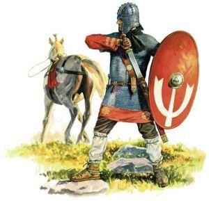 Rysunek ukazujący jeźdźca rzymskiego w czasie bitwy pod pod Adrianopolem w 378 roku n.e.