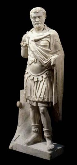 Marble statue of Septimius Severus in a military outfit