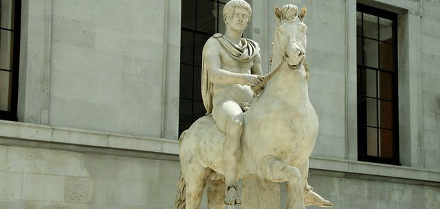 Statue showing probably naked Caligula on his horse