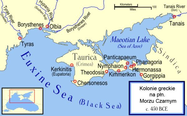 Tauridian Chersonesos and Other Ancient Greek Colonies of the Northern Black Sea in 450 BCE