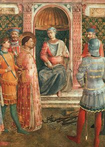 Saint Laurence in front of emperor Valerian. He died as a martyr in 258 CE