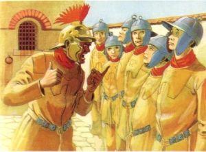 In the barracks, legionaries were dressed in yellow sweatshirts