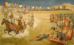 Legionaries surrounded by mounted archers of the Parthian army.