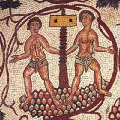 Mosaic showing the production of wine, more precisely squeezing grape juice by stepping on them