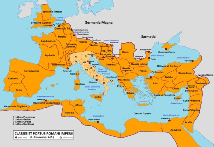 Map showing the Roman fleet and the most important Roman ports of the principate period