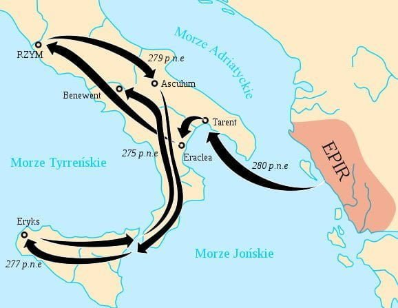 Map showing the operations of King Pyrrhus's troops