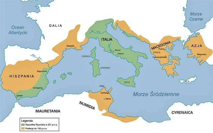 Mapa Republiki Rzymskiej przedstawiająca rozwój terytorialny państwa do 100 roku p.n.e.