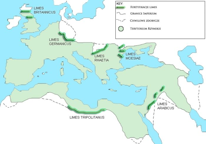 Map of all territories occupied by the Roman Empire, along with the limes locations