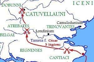Trasa inwazji wojsk rzymskich Cezara