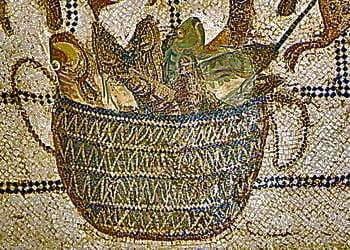 Mosaic showing a basket of fish to be prepared garum