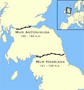 Mur Antoninusa (górny) i Hadriana (dolny)