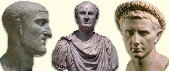 Ojcowie trzech rzymskich dynastii: Konstancjusz I Chlorus (dyn. konstantyńska), Wespazjan (dyn. Flawiuszów) i Oktawian August (dyn. julijsko-klaudyjska)