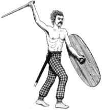 Rysunek przedstawia typowego wojownika plemiennego północnej Francji