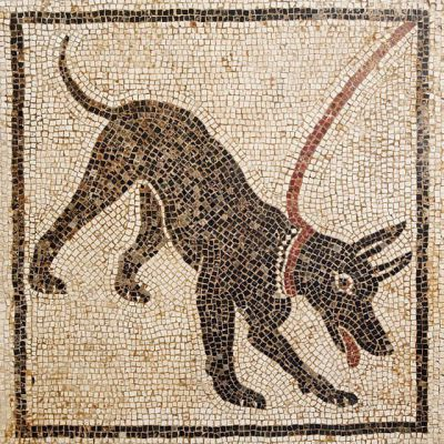 Roman mosaic showing a dog on a leash