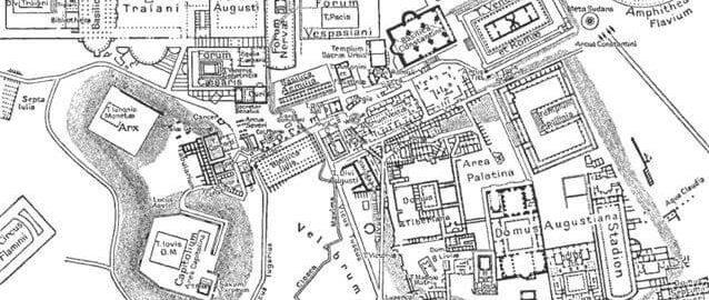 Plan Rzymu z rozmieszczeniem forów rzymskich