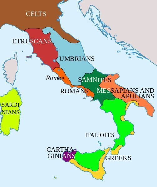 Map showing the distribution of Italic tribes around the 4th century BCE