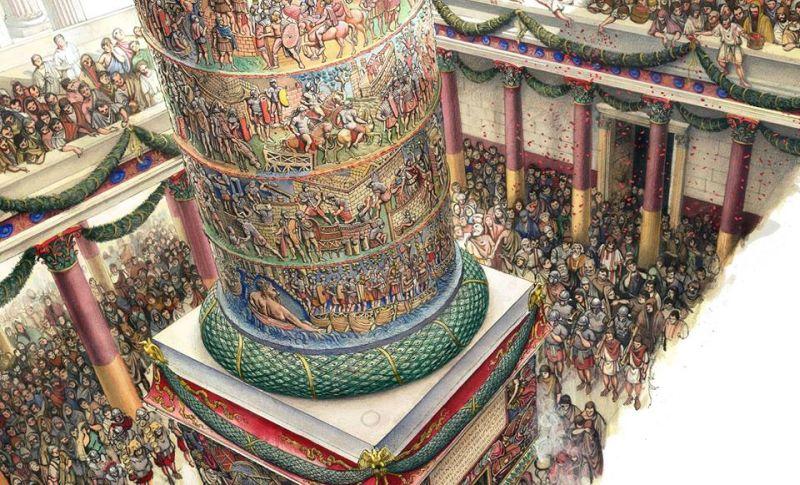 Ceremonia pochowania prochów Trajana w kolumnie Trajana