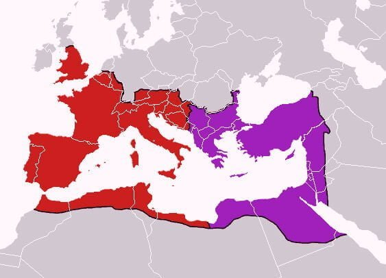 In 395 CE Theodosius the Great divided the Roman Empire between his two sons: into eastern and western