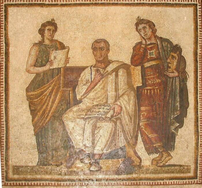 Wergiliusz trzymający w rękach rękopis Eneidy