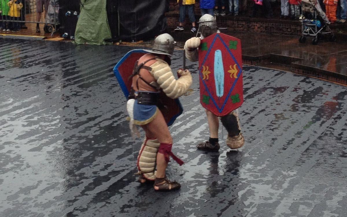 A reconstruction of gladiators duel
