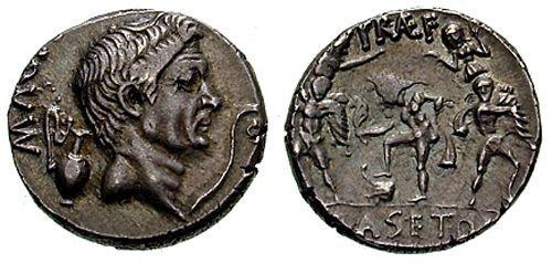 Moneta z wizerunkiem Gnejusza Pompejusza
