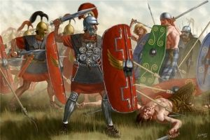 Clash of Roman troops with barbarians