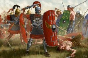Starcie wojsk rzymskich z barbarzyńcami