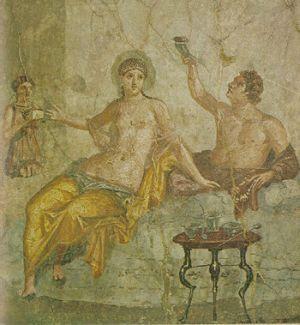 Fresk ukazujący rzymską prostytutkę