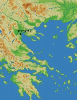 Location of the battle of Pydna