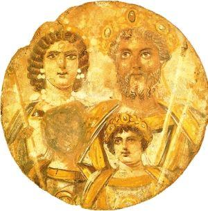 Przykład malarstwa tablicowego z około 200 roku n.e., ukazującego rodzinę Sewerów