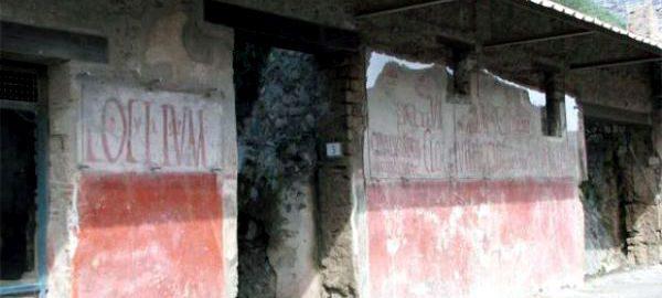 Przykład rzymskiego graffiti na ścianie w Pompejach