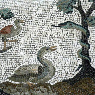 Rzymska mozaika ukazująca florę i faunę