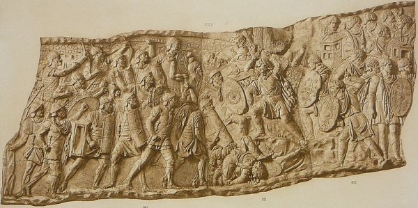 Relief from the Trajan column showing Roman archers in action