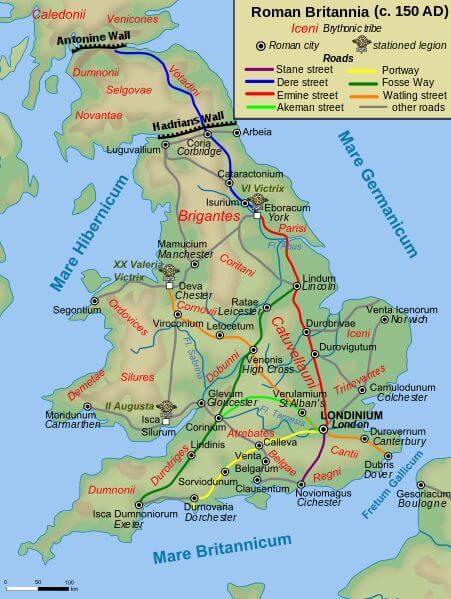 Rzymskie drogi w Brytanii w 150 roku n.e.