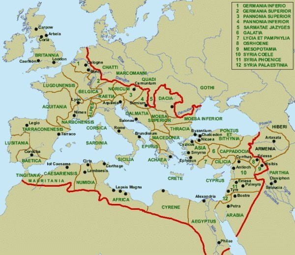 Map of the Roman Empire from 211 CE. For sure Roman state had to be multicultural