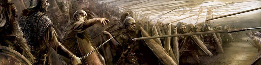 Grafika ukazująca rzut oszczepem (pilum) pierwszych szeregów legionistów