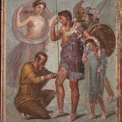 Rzymski fresk przedstawiający lekarza udzielającego pomocy medycznej