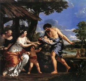 Romulus i Remus otrzymują schronienie od pasterza, Faustulusa. Obraz - Pietro da Cortona