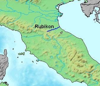 Rubicon during the Republic was a terminal river between Cisalpine Gaul and Italy.