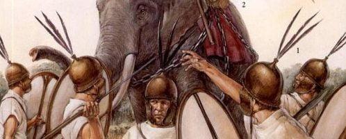 Hastati walczący ze słoniem Pyrrusa