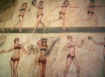 Mozaika ukazująca Rzymianki w bieliźnie